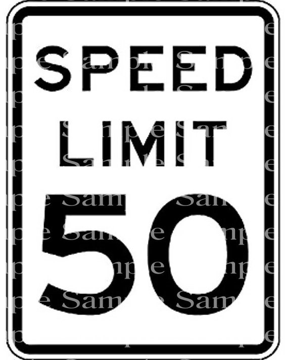 Speed Limit 50th Birthday - Edible 2D Fondant Cake & Cupcake Topper For Birthdays and Parties! - D24319