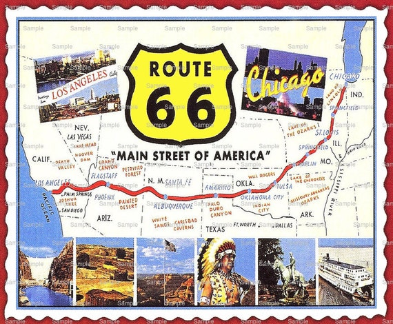 Route 66 Map Birthday ~ Edible 2D Fondant Birthday Cake/Cupcake Topper ~ D1675