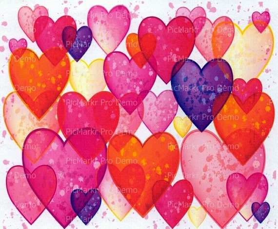 Valentine's Day Hearts ~ Edible 2D Fondant Birthday Cake/Cupcake Topper ~ D2832