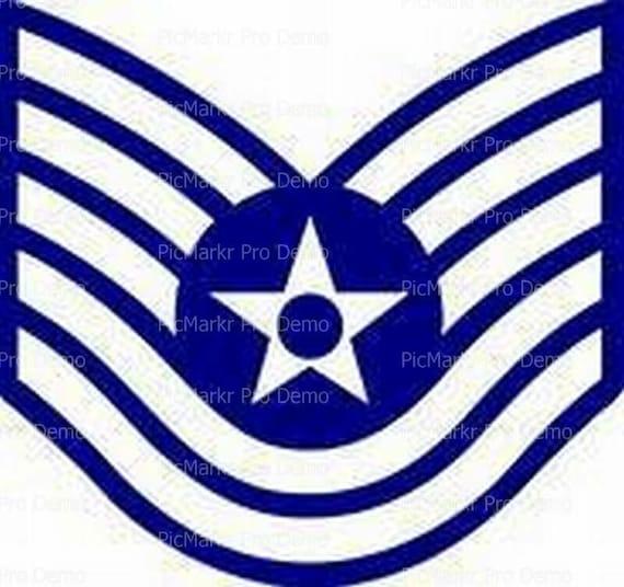 Air Force Technical Sgt Insignia Birthday ~ Edible 2D Fondant Birthday Cake/Cupcake Topper ~ D20440