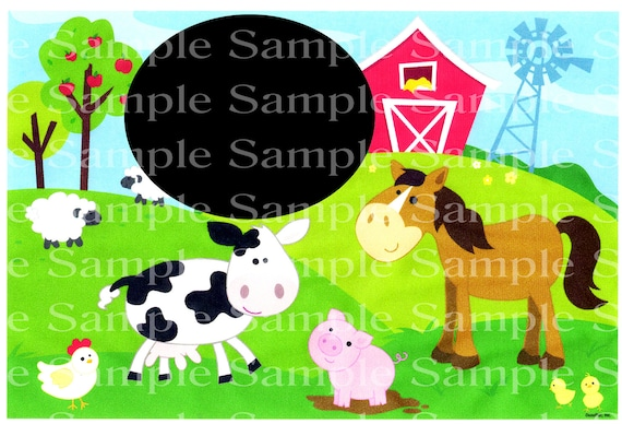 Baby Shower Barnyard Animals Birthday ~ Edible 2D Fondant Birthday Cake/Cupcake Topper ~ D24170
