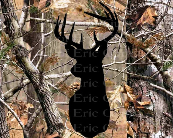 Deer Head Camo Birthday - Edible Cake and Cupcake Topper For Birthday's and Parties! - D22158