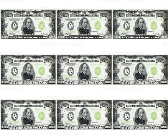 10,000 Dollar Bills - Birthday - Side Strips ~ Edible 2D Fondant Birthday Cake Side Toppers ~ D20385