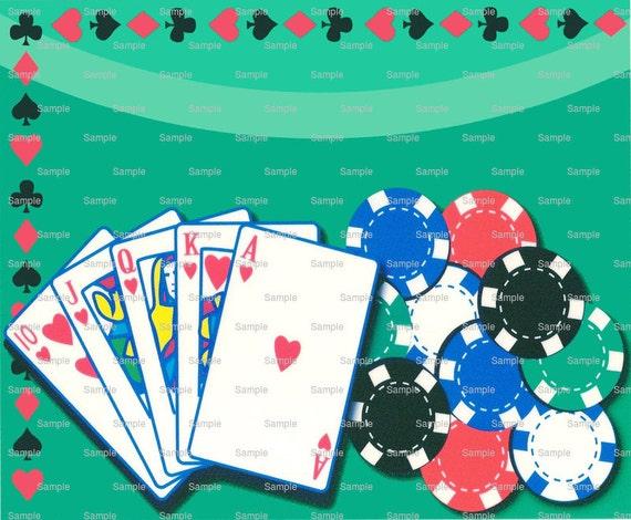 Casino Poker Game Birthday ~ Edible 2D Fondant Birthday Cake/Cupcake Topper ~ D754