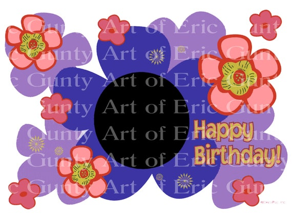 Spring Flowers Happy Birthday - Edible Cake and Cupcake Photo Frame For Birthdays and Parties! - D4130