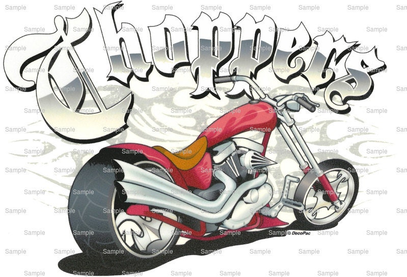Motorcycle Chopper Birthday Edible Cake And Cupcake Topper For
