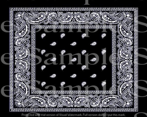 Black Paisley Bandanna Birthday ~ Edible 2D Fondant Birthday Cake/Cupcake Topper ~ D24605