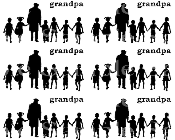 Grandpa & Grandkids Silhouette Birthday - Side Strips ~ Edible 2D Fondant Birthday Cake Side Toppers ~ D24471