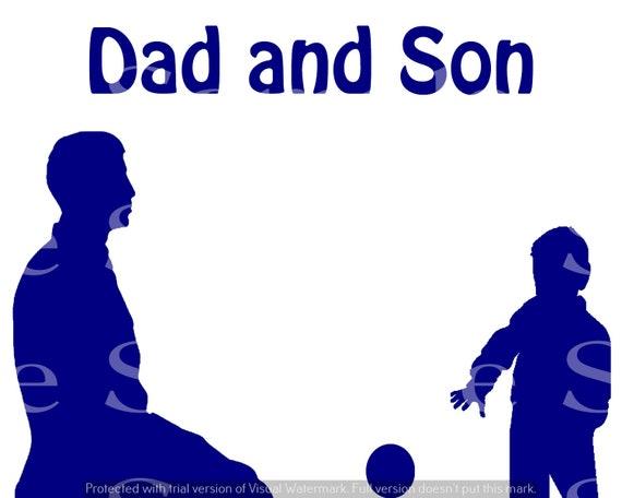 Blue Dad & Son Silhouette Birthday ~ Edible 2D Fondant Birthday Cake/Cupcake Topper ~ D24613