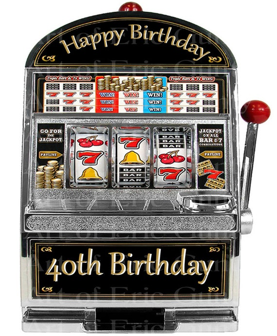 Las Vegas Happy 40th Birthday Slot Machine ~ Edible 2D Fondant Birthday Cake/Cupcake Topper ~ D22765