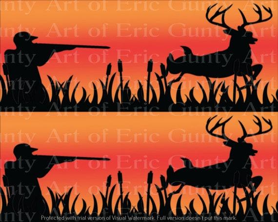 Orange Deer Hunting Birthday ~ Edible 2D Fondant Birthday Cake Side Toppers ~ D24134
