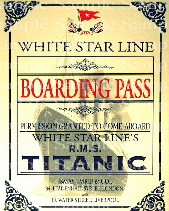 Vintage Titanic Boarding Pass Birthday - Edible Cake and Cupcake Topper For Birthdays and Parties! - D24173