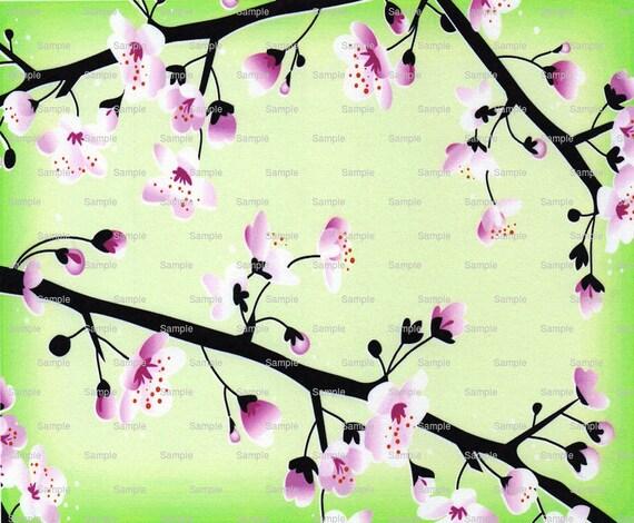 Japanese Cherry Blossom Cake Background ~ Edible 2D Fondant Birthday Cake/Cupcake Topper ~ D4374