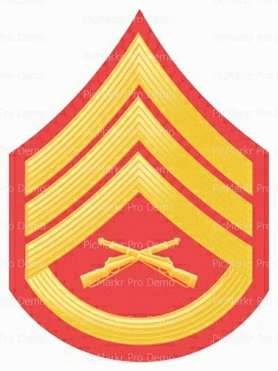 Marine Staff Sargent Military Insignia Birthday ~ Edible 2D Fondant Birthday Cake/Cupcake Topper ~ D20490