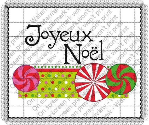 Joyeux Noel Bon Bon ~ Edible 2D Fondant Birthday Cake/Cupcake Topper ~ D20778