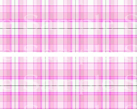 Pink Plaid Birthday - 2D Edible Cake Side Toppers - Decorate The Sides of Your Cake! - D24533