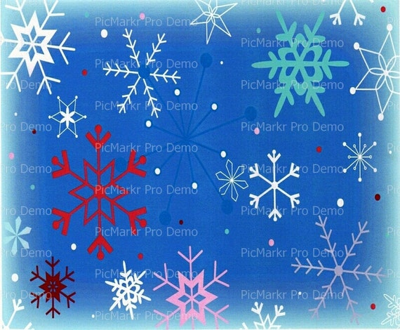 Christmas Snowflake Background - Edible Cake and Cupcake Topper For Birthday's and Parties! - D4386