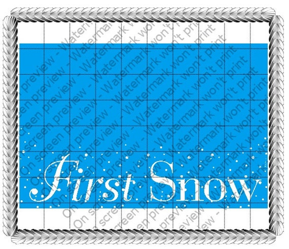 Winter First Snow Background - Edible Cake and Cupcake Topper For Birthday's and Parties! - D21055