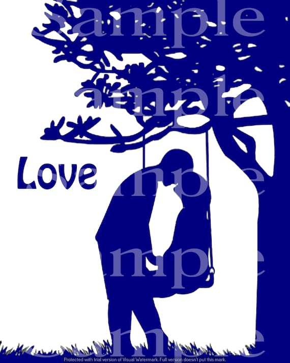 Blue Couple In Love Silhouette Birthday ~ Edible 2D Fondant Birthday Cake/Cupcake Topper ~ D24625