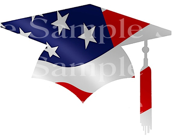 Patriotic Graduation Cap Birthday ~ Edible 2D Fondant Birthday Cake/Cupcake Topper ~ D24517