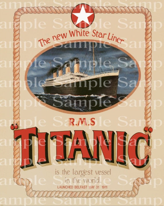 Vintage Titanic Poster Birthday - Edible Cake and Cupcake Topper For Birthdays and Parties! - D24174