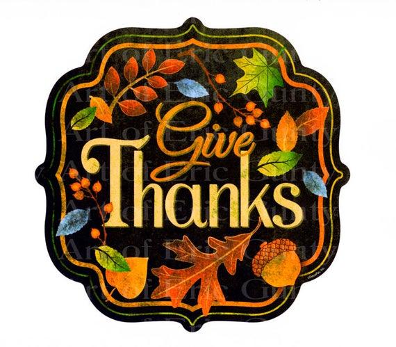 Thanksgiving Give Thanks ~ Edible 2D Fondant Birthday Cake/Cupcake Topper ~ D22531