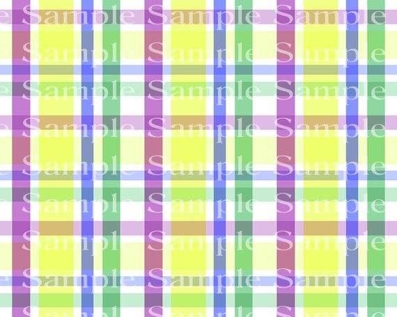 Pastel Plaid Birthday - 2D Fondant Edible Cake & Cupcake Topper For Birthdays and Parties! - D24355