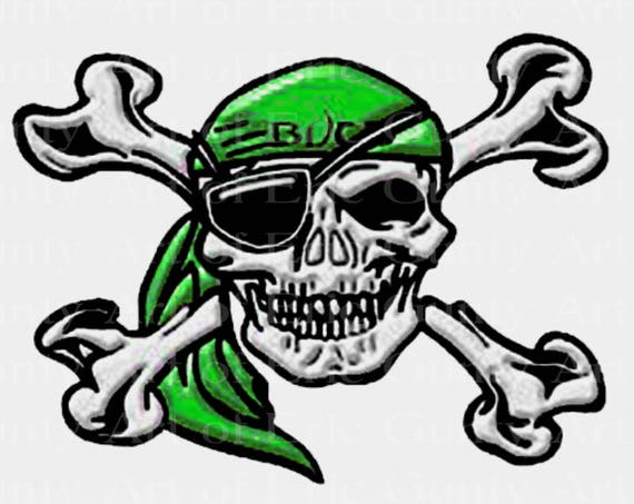 Green Pirate Skull Mascot Birthday ~ Edible 2D Fondant Birthday Cake/Cupcake Topper ~ D22482