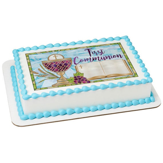 First Communion Religious Birthday - Edible Cake and Cupcake Topper For Birthday's and Parties! - D24086