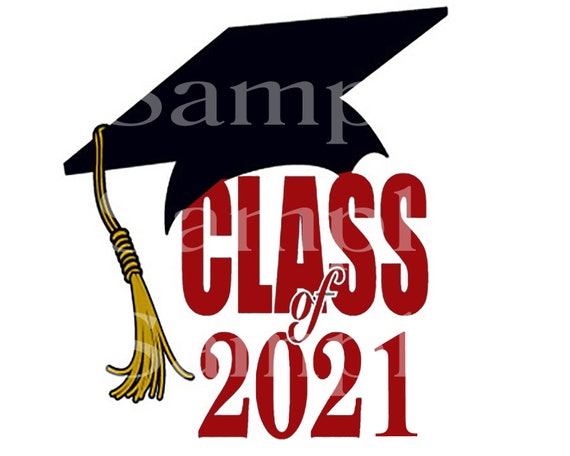 Class of 2021 Maroon Graduation ~ Edible 2D Fondant Birthday Cake/Cupcake Topper ~ D24571