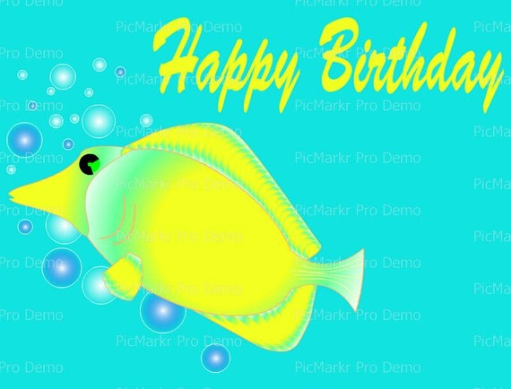 Happy Birthday Fish - Edible Cake and Cupcake Topper For Birthday's and Parties! - D20102