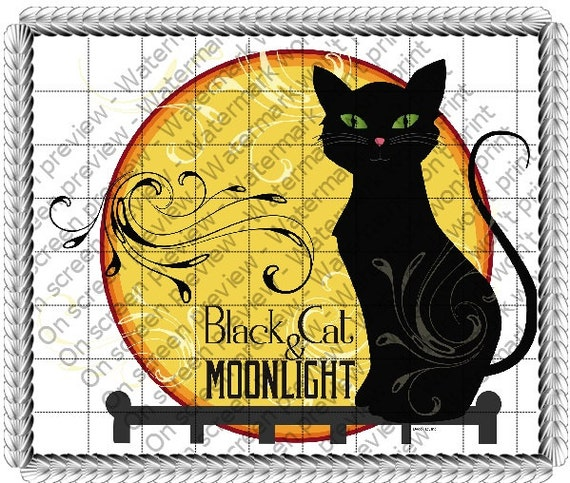 Black Cat Halloween - Edible Cake and Cupcake Topper For Birthday's and Parties! - D20711