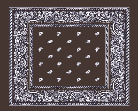 Brown Paisley Bandanna Birthday ~ Edible 2D Fondant Birthday Cake/Cupcake Topper ~ D24649