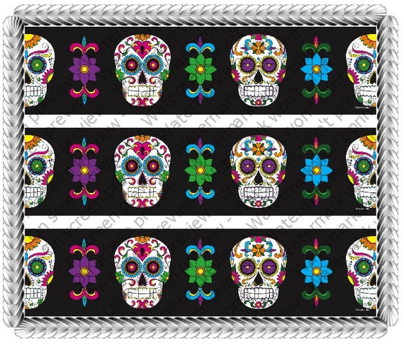 Dia De Los Muertos Skull Birthday Side Strips - Edible Cake Side Toppers- Decorate The Sides of Your Cake! - D20022