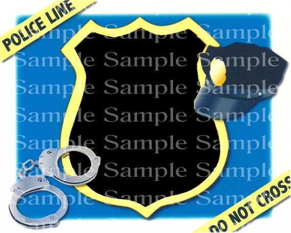 Police Officer Badge Birthday ~ Edible 2D Fondant Birthday Photo Frame Cake/Cupcake Topper ~ D24190