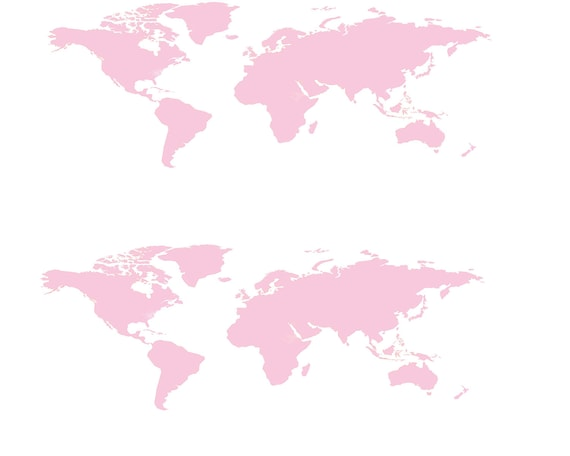 Pink World Map - Side Strips - Edible Cake Side Toppers- Decorate The Sides of Your Cake! - D24659