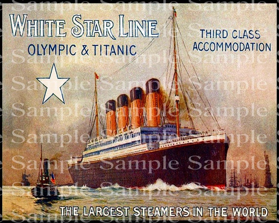 Vintage Titanic Ship Poster Birthday - Edible Cake and Cupcake Topper For Birthdays and Parties! - D24175