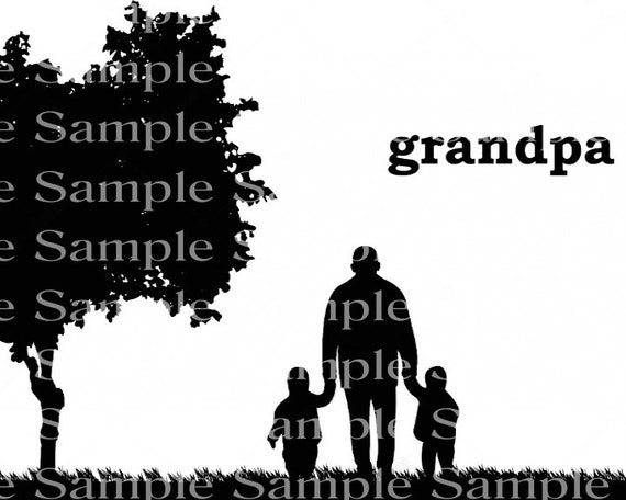 Grandpa Silhouette Background - 2D Edible Cake/Cupcake Topper For Birthdays and Parties! - D24307