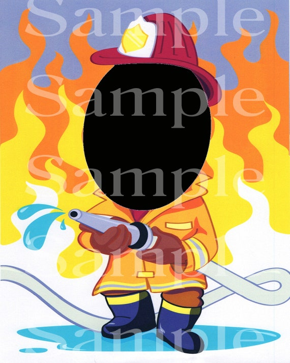 Fire Fighter Birthday ~ Edible 2D Fondant Birthday Photo Frame Cake/Cupcake Topper ~ D4721
