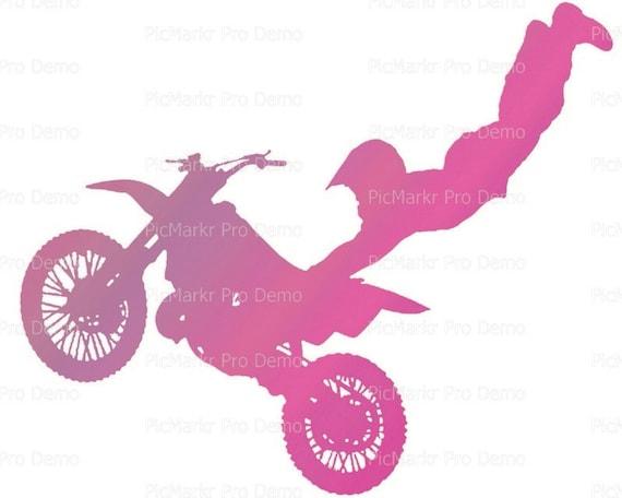 Motocross Pink Dirtbike Birthday ~ Edible 2D Fondant Birthday Cake/Cupcake Topper ~ D21773