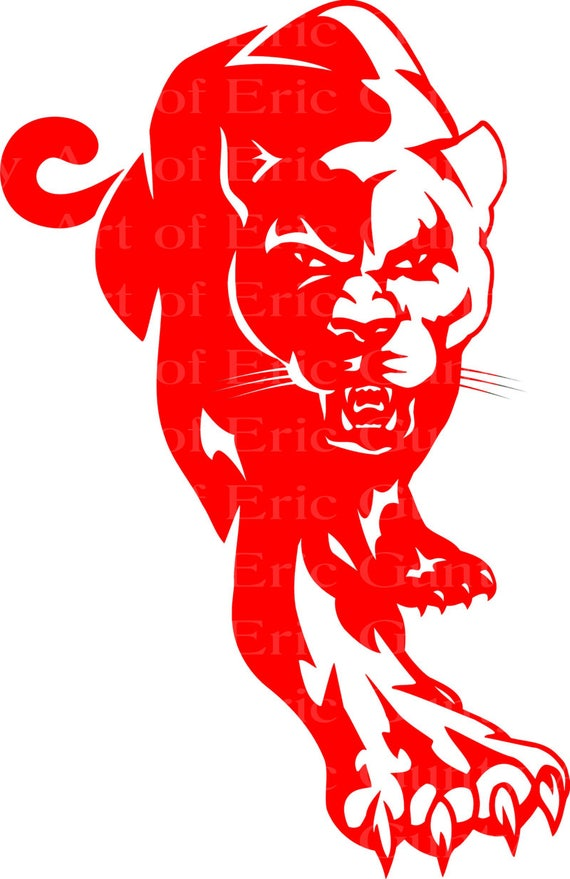 Red Panther Cougar Mascot Birthday - Edible Cake and Cupcake Topper For Birthday's and Parties! - D22459