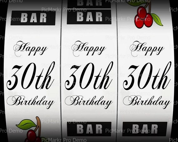 30th Birthday Casino Slot Machine ~ Edible 2D Fondant Birthday Cake/Cupcake Topper ~ D21864