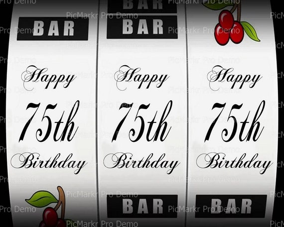 75th Birthday Casino Slot Machine - Edible Cake and Cupcake Topper For Birthday's and Parties! - D21873