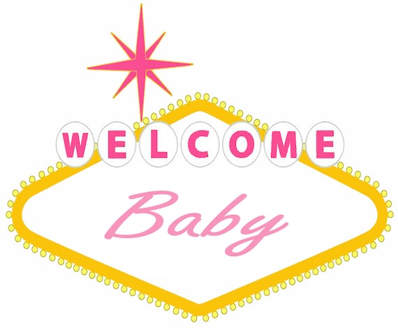 Welcome Baby Pink Las Vegas Baby Shower ~ Edible 2D Fondant Birthday Cake/Cupcake Topper ~ D24646