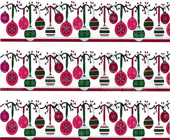 Christmas Ornaments Background - Edible Cake and Cupcake Topper For Birthday's and Parties! - D3109
