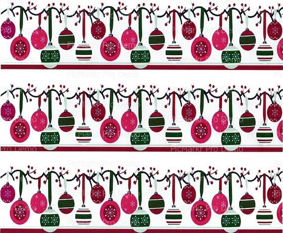 Christmas Ornaments Background ~ Edible 2D Fondant Birthday Cake/Cupcake Topper ~ D3109