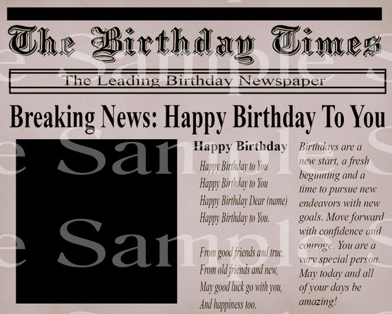 Newspaper Happy Birthday - Edible 2D Fondant Cake & Cupcake Topper For Birthdays and Parties! - D24152