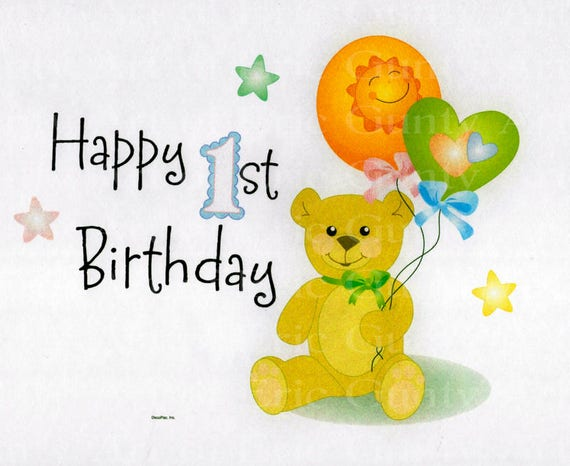 Happy 1st Birthday Bear - Edible Cake and Cupcake Topper For Birthday's and Parties! - D22539