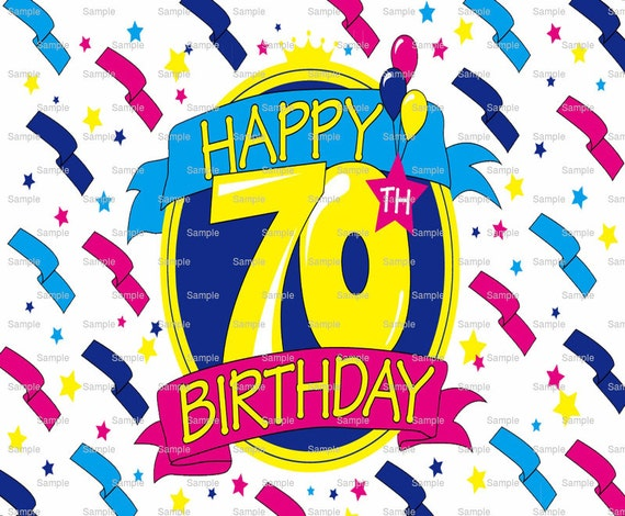Happy 70th Birthday - Edible Cake and Cupcake Topper For Birthday's and Parties! - D6002