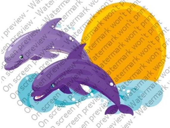 Dolphins Jumping Birthday - Edible Cake and Cupcake Topper For Birthday's and Parties! - D4097